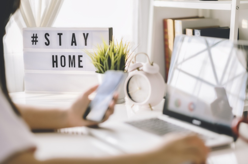 #STAYHOME text hashtag image